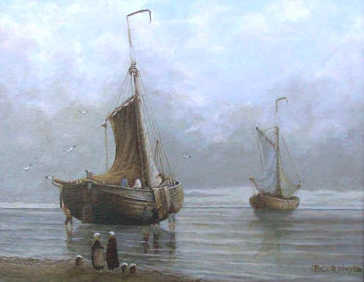 Painting by Brigitte Corsius: Ships on the coast