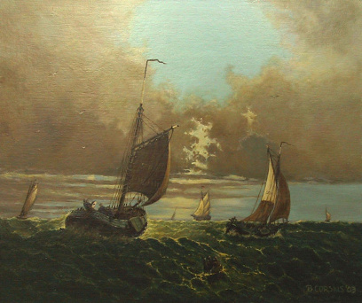 Painting by Brigitte Corsius: Ships at sea with breaking air