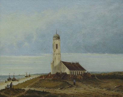Painting by Brigitte Corsius: Little church on the coast