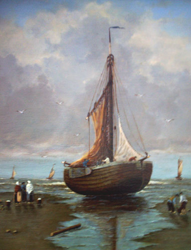 Painting by Brigitte Corsius: Moored ship