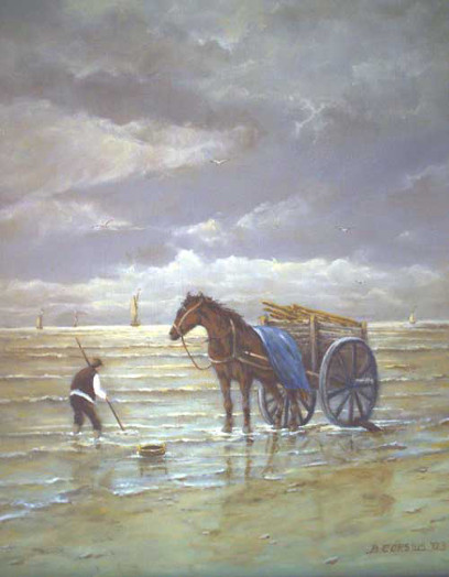Painting by Brigitte Corsius: Fisherman with horse and carriage
