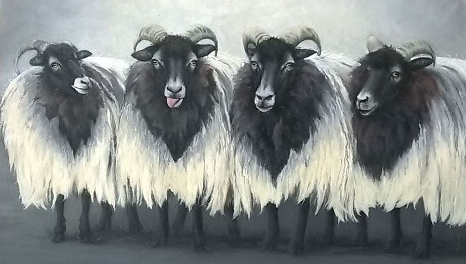 A quartet of heath sheep by Brigitte Corsius